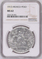 :1913 Mo 1-PESO MEXICO KM# 423 CABALITTO NGC NEAR-CHOICE-BU MS-62 HIGHEST-GRADES