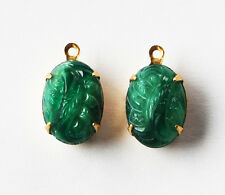 VINTAGE 2 CHINESE JADE RELIEF GLASS OVAL PENDANTS in BRASS • 10x14mm • GREEN