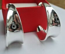 boucles d'oreilles percées bijou vintage couleur argent poli anneaux larges 613