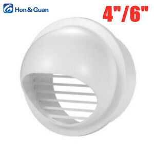 "Hon&Guan 4"" 6"" ABS Round Air Vent Duct Ventilation Vent Cover Outlet Rainproof"