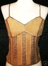 M NWT GYPSY Boho Bohemian Hippie Medieval Renaissance Belly Dancing Leather Top