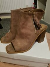 Taupe Peeptoe Heels Boots Womans Shoes Size 5 Brand New