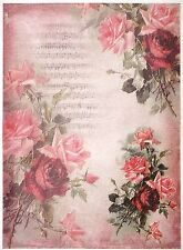 Rice Paper for Decoupage Scrapbook Craft Sheet A/3 Red Roses on Pink Background