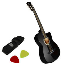 Alpha 38 Inch Wooden Acoustic Guitar - Black