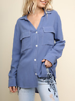 Umgee | Denim Long Sleeve Button Up Collared Contrast Stitch Top | NWT S M L