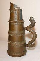 antique 1800's Ceremonial dragon ewer Duomuhu Tibetan hand tooled brass pitcher