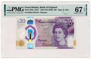 GREAT BRITAIN banknote 20 Pounds 2018 PMG MS 67 Superb Gem Uncirculated