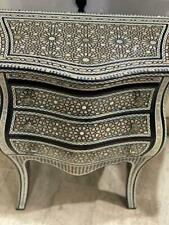 Antique Style Egyptian Curving Wood Sideboard Inlaid Mother of Pearl