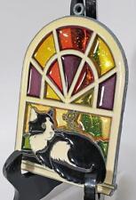 STAINED GLASS SUNCATCHER BLACK & WHITE CAT w/ BUTTERFLY IN WINDOW  FREE SHIP