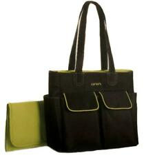 Carters Black and Lime Green Diaper Tote Bag Changing Pad Bottle Pockets NWT