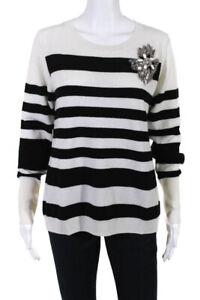 Badgley Mischka Womens Crystal Embellished Striped Crew Neck Sweater Size Large