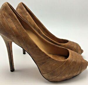 L.A.M.B. Tan Leather Stiletto Peep Toe Pumps Dress Heels Women's Size 7.5 Medium