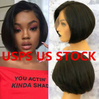 Hot Natural Pre Plucked Short Bob Lace Front Wigs Remy Brazilian Human Hair USA