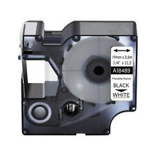 1pk For Dymo Rhino 4200 5200 34 Black On White Flexible Nylon Label Tape 18489