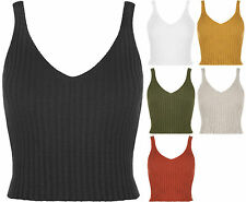 Women Ladies Knitted Crochet Ribbed Bralet Sleeveless Crop Belly & Long Top Vest