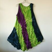 Indian Tie Dye Embroidered Beaded Umbrella Dress Women's One Size OSFM