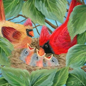 original mini art painting birds cardinal wildlife babies Father's Day outdoors