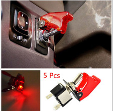5pcs 12V 20A Car Truck Red Cover LED Light Rocker Toggle Switch SPST ON/OFF Kit
