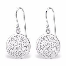 Genuine 925 Sterling Silver Circle Drop Dangle Flower Filigree Earrings Women