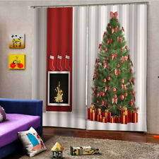 100x140cm Christmas Tree Curtains Child Room Waterproof 2Panels Drapes Xmas