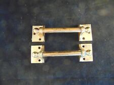 """2 Antique Vintage Old Solid Brass Matching 7"""" Handles, One Fixed the Other Turns"""
