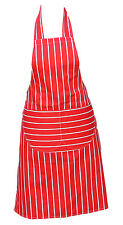 Chefs Apron Professional Quality Red & White Butchers Kitchen Cooks Restaurant
