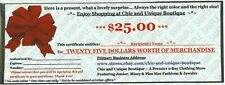 CHIC and UNIQUE BOUTIQUE new $25.00 Gift Certificate PLUS SIZE FASHIONS $25 Card