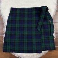 J. Crew Women's  Size 2 Green Blue Black Plaid Wrap Skirt Wool Blend