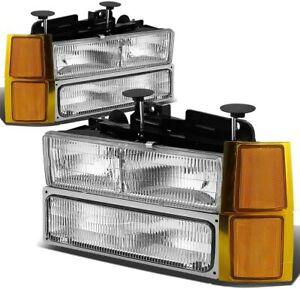 For 1994-1998 GMC Sierra C/K 1500 HeadLights Head Lamps Set pair LH+RH 2PCS
