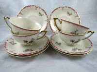 Independence Ironstone IND8 Tea Coffee 4 Cups 6 Saucers Pink Gray Floral Gold