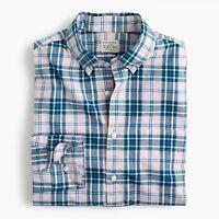 New J Crew Secret Wash Heather Poplin Shirt Long Sleeve Plaid Pink Blue NWT