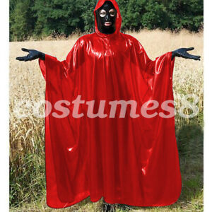 100% Latex Rubber Full-Body Long Coat Hooded Rain Catsuit Fashion Size S-XXL