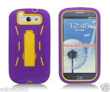 Samsung Galaxy S3 III Hybrid Armor Case Skin Cover w/ Kickstand Purple Yellow