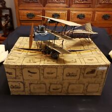 """VTG Pressed Steel / Tin Toy Model Antique Biplane ~ Classic Collection 13"""" Long"""