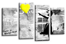 """BANKSY ART PICTURE GREY YELLOW CANVAS GIRL WITH BALLOON WALL 4 PANEL 44""""x 27"""""""