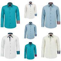 Klassische Langarmhemden Slim Fit für Jungen in jedem Alter Größe 128 - 176 NEU