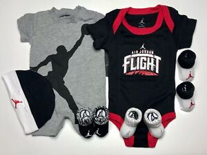 New AIR JORDAN Baby 6Pc GIFT SET  Bodysuits, Cap & Booties 0-6 Months. Unisex