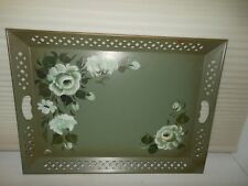 Vintage Green Nashco hand painted Floral large sized tray 23.25 X 16.25