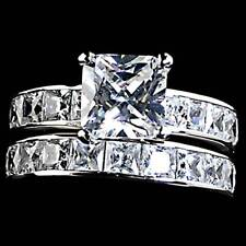 7mm_PRINCESS ALL CLEAR CZ WEDDING SET RING_SZ-9__NF 925 STERLING SILVER