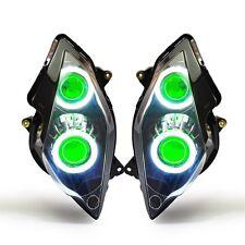 KT LED Angel Demon Eyes HID Headlight Assembly for Honda VFR800 2002-2012 Green