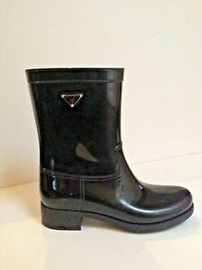 Prada Women's Rubber Mid Calf Black Rain Boots  Size 41