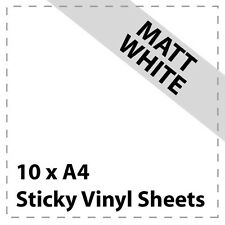 10 x A4 MATT WHITE Sticky Vinyl Sheets - Craft Robo, CriCut & Crafts