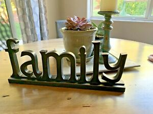 Family Word Sign Wood Block Rustic Standing Cutout Letter lower case black
