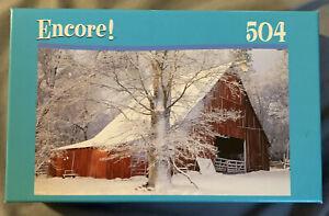 Encore North Sierra Nevada CA Winter Barn Scene Puzzle Factory Sealed 504 Pieces