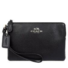 NWT Coach F54626 Wristlet Crossgrain Leather Corner Zip Wallet Black