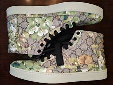 Mens Gucci Blooms Shoes sz 10.5 (G 9.5) Supreme GG GREEN Floral Print AUTHENTIC