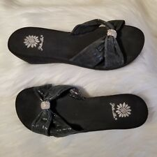54b202969113db Yellow Box Black Wedge Sandals Metallic Criss Cross Strap Bow Bling Slip On  Sz 8