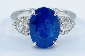 GIA 5.53 ct NATURAL pear DIAMOND & oval SAPPHIRE ring 14k white gold ( VIDEO)