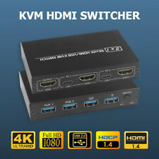 2 Port HDMI KVM Switch 4K for 2 PC Sharing One Monitor Keyboard Mouse Printer