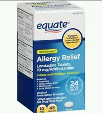 2pk Equate Loratadine 10Mg Non-Drowsy 24 Hour Allergy Relief 45ct Exp Date 1/17+